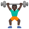 Person Lifting Weights: Dark Skin Tone on Google Android 9.0