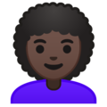 Woman, Curly Haired: Dark Skin Tone on Google Android 9.0
