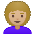 Woman, Curly Haired: Medium-Light Skin Tone on Google Android 9.0