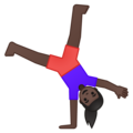 Woman Cartwheeling: Dark Skin Tone on Google Android 9.0