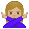 Woman Gesturing No: Medium-Light Skin Tone on Google Android 9.0