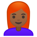 Woman, Red Haired: Medium-Dark Skin Tone on Google Android 9.0