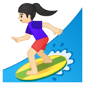 Woman Surfing: Light Skin Tone on Google Android 9.0