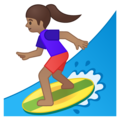 Woman Surfing: Medium Skin Tone on Google Android 9.0
