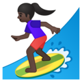 Woman Surfing: Dark Skin Tone on Google Android 9.0