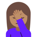 Person Facepalming: Medium Skin Tone on Google Android 7.1