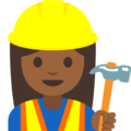 Woman Construction Worker: Medium-Dark Skin Tone on Google Android 7.1