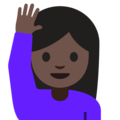 Person Raising Hand: Dark Skin Tone on Google Android 7.1