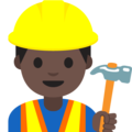 Man Construction Worker: Dark Skin Tone on Google Android 7.1