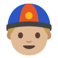 Man With Chinese Cap: Medium-Light Skin Tone on Google Android 7.1