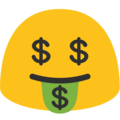 Money-Mouth Face on Google Android 7.1