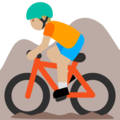 Person Mountain Biking: Medium-Light Skin Tone on Google Android 7.1