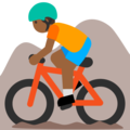 Person Mountain Biking: Medium-Dark Skin Tone on Google Android 7.1