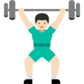 Person Lifting Weights: Light Skin Tone on Google Android 7.1
