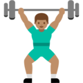 Person Lifting Weights: Medium Skin Tone on Google Android 7.1