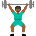 Person Lifting Weights: Medium-Dark Skin Tone on Google Android 7.1