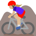 Woman Mountain Biking: Medium-Light Skin Tone on Google Android 7.1