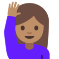 Woman Raising Hand: Medium Skin Tone on Google Android 7.1
