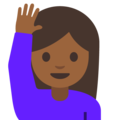 Woman Raising Hand: Medium-Dark Skin Tone on Google Android 7.1