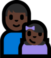 Family - Man: Dark Skin Tone, Girl: Dark Skin Tone on Microsoft Windows 10 Fall Creators Update