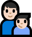 Family - Man: Light Skin Tone, Boy: Light Skin Tone on Microsoft Windows 10 Fall Creators Update