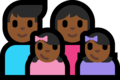 Family - Man: Medium-Dark Skin Tone, Woman: Medium-Dark Skin Tone, Girl: Medium-Dark Skin Tone, Girl: Medium-Dark Skin Tone on Microsoft Windows 10 Fall Creators Update