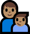 Family - Man: Medium Skin Tone, Boy: Medium Skin Tone on Microsoft Windows 10 Fall Creators Update