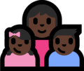 Family - Woman: Dark Skin Tone, Girl: Dark Skin Tone, Boy: Dark Skin Tone on Microsoft Windows 10 Fall Creators Update