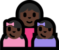 Family - Woman: Dark Skin Tone, Girl: Dark Skin Tone, Girl: Dark Skin Tone on Microsoft Windows 10 Fall Creators Update