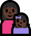 Family - Woman: Dark Skin Tone, Girl: Dark Skin Tone on Microsoft Windows 10 Fall Creators Update