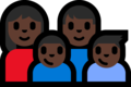 Family - Woman: Dark Skin Tone, Man: Dark Skin Tone, Boy: Dark Skin Tone, Boy: Dark Skin Tone on Microsoft Windows 10 Fall Creators Update