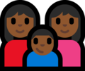 Family - Woman: Medium-Dark Skin Tone, Woman: Medium-Dark Skin Tone, Boy: Medium-Dark Skin Tone on Microsoft Windows 10 Fall Creators Update