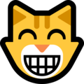 Grinning Cat Face With Smiling Eyes on Microsoft Windows 10 Fall Creators Update