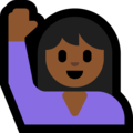 Person Raising Hand: Medium-Dark Skin Tone on Microsoft Windows 10 Fall Creators Update