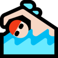 Man Swimming: Light Skin Tone on Microsoft Windows 10 Fall Creators Update