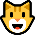 Smiling Cat Face With Open Mouth on Microsoft Windows 10 Fall Creators Update