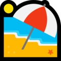 Beach With Umbrella on Microsoft Windows 10 April 2018 Update