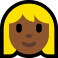 Blond-Haired Woman: Medium-Dark Skin Tone on Microsoft Windows 10 April 2018 Update