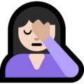 Person Facepalming: Light Skin Tone on Microsoft Windows 10 April 2018 Update