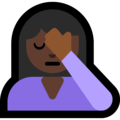 Person Facepalming: Dark Skin Tone on Microsoft Windows 10 April 2018 Update