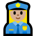 Woman Police Officer: Medium-Light Skin Tone on Microsoft Windows 10 April 2018 Update