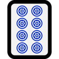 Mahjong Tile Eight of Circles on Microsoft Windows 10 April 2018 Update