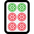 Mahjong Tile Six of Circles on Microsoft Windows 10 April 2018 Update
