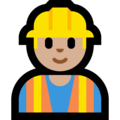 Man Construction Worker: Medium-Light Skin Tone on Microsoft Windows 10 April 2018 Update