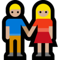 Man and Woman Holding Hands, Type-3 on Microsoft Windows 10 April 2018 Update