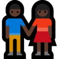 Man and Woman Holding Hands, Type-6 on Microsoft Windows 10 April 2018 Update