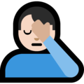 Man Facepalming: Light Skin Tone on Microsoft Windows 10 April 2018 Update