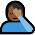 Man Facepalming: Medium-Dark Skin Tone on Microsoft Windows 10 April 2018 Update