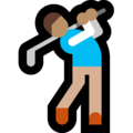 Man Golfing: Medium Skin Tone on Microsoft Windows 10 April 2018 Update