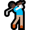 Man Golfing: Dark Skin Tone on Microsoft Windows 10 April 2018 Update